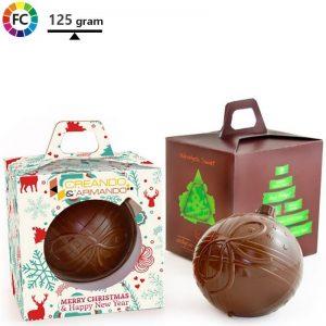 bedrukte chocoladekerstbal