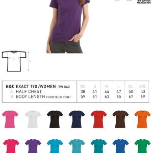 T-shirt B&C Collection Exact 190 Dames-0