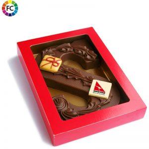 luxe chocoladeletter met logoschildje
