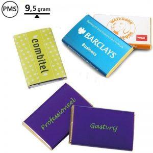 rechthoekige chocolade in wikkel promotiechocolade kaartjes