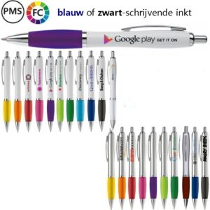 athos white bedrukte pennen