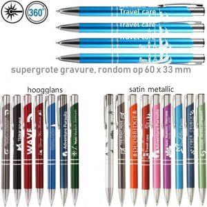 gegraveerde metalen pennen