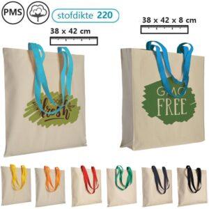 katoenen schoudertassen bedrukken ecru met gekleurd hengsel logotassen