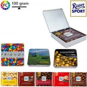 bedrukte chocolade in blik rittersport chocolade