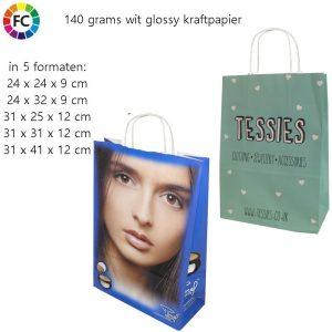Glossy kraftpapieren tas met fullcolor opdruk-0