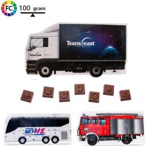 chocolade adventkalender in de vorm van een vrachtwagen