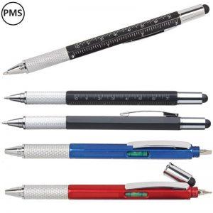 multitool pennen met meetlat en waterpas en schroevendraaier met eigen logo