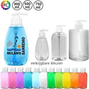 desinfecterende handgels in flessen met eigen bedrukking