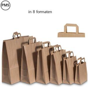 bruine papieren tassen bedrukken plat handvat