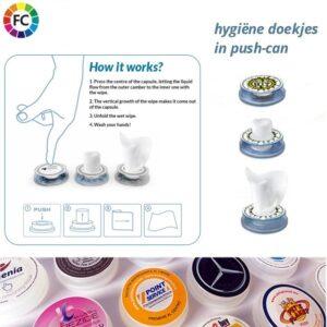 hygiene doekjes wetwipes in pushcan