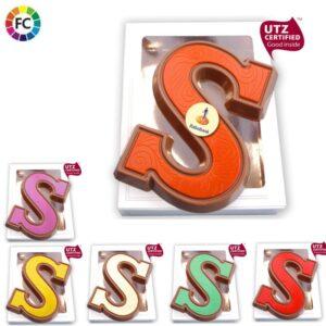 chocoladeletters met logo colour bedrukken gekleurde chocoladeletters