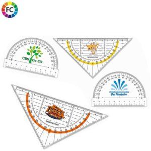 bedrukte geodriehoeken bedrukken met logo