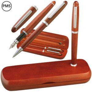 luxe houten pennenset zilver bedrukken silva