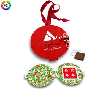chocolade kerstkaart met 4 chocolaatjes